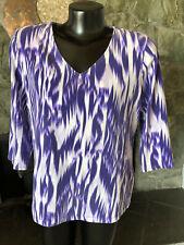 Chicos Purple/White Knit Top 3/4 Sleeve Vee Neck   2.5   12/14