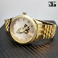 Mens Iced out Gold Plated Lab Diamond Dress Hip Hop Prayer Hands Analog Watch