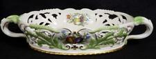 MEISSEN STYLE JEANNE REED'S 2 HANDLE PORCELAIN ORNATE HAND PAINTED SERVING DISH