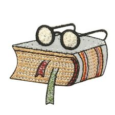 ID 0989B Library Study Book Bookworm Novel with Glasses Iron On Applique Patch