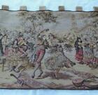 Vintage Tapestry Wall Hanging French Courtyard Scene Belgium Velvet Tab Top