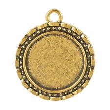 PD: 5 Antik Gold Charm Cabochons Kamee Klebestein Fassungen Anhänger 32x28mm