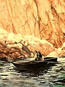 "VINTAGE ORIGINAL OIL ON CANVAS 36x24"" PAINTING AMERICAM INDIAN ON BOAT BY YEAGER"
