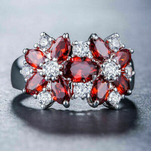Gorgeous Engagement Floral Ring 3.20 Ct Marquise Garnet Cut 14K White Gold Over