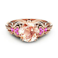 Fashion Rose Gold Filled Round Cut Cubic Zirconia Women Engagement Ring Size 9