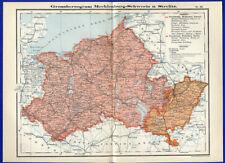 Alte Landkarte Ostsee Großherzogtum Mecklenburg Schwerin Strelitz 1890