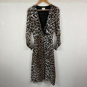 Witchery Womens Dress Size 10 Multicoloured Leopard Print Long Sleeve V-Neck