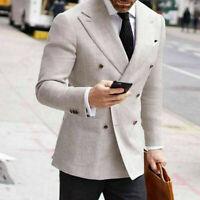 Linen Men Suits Blazer Double Breasted Peak Lapel Groom Wedding Formal Business