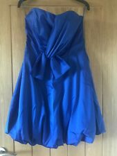 Stunning George Size 10 Royal Blue Strapless Occasion Satin Pouf Lined Dress