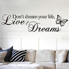 Live You Drean Quote Wall Stickers Vinyl Art Decal Mural Home Decor DIY Black