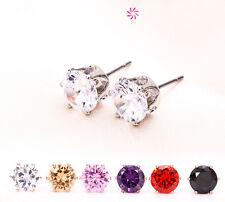 1 Pair New Rhinestone Cubic Crystal Stud Earring 925 Sterling Silver Earrings LI