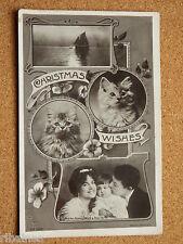 R&L Postcard: Mr & Mrs Seymour Hicks & Baby Betty, Christmas Wishes Cat Kitten