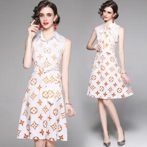 Summer Runway Floral Print Collar Bow Sleeveless Women Casual Party Shirt Dress