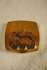 Vintage AMERICAN BEAUTY GOLD TONE DANCING DEER Round Art Deco Cosmetic Compact