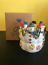 Snowy Folks Candle Holder Avon Gift Box Glass Votive Snowmen 1998