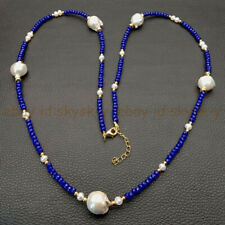 30'' 2x4mm Rondelle Faceted Sapphire & 5 Pcs White Keshi Baroque Pearl Necklace