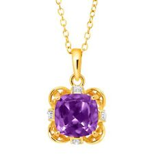 Natural Amethyst Pendant with Diamonds in 18K Gold-Plated Sterling Silver