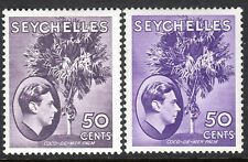 Seychelles1938 reddish-violet 50c lilac 50c  multi-script mint SG144/144b