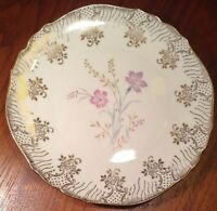 "Vintage Gold-Scallop-Rim Floral 8""ROSLAU WINTERLING CHINA SALAD PLATE Bavaria#85"