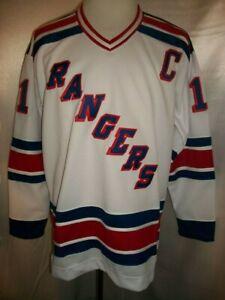 "Mark Messier New York Rangers White & Blue ""1978-1990 Throwback"" CCM NHL Jersey"