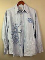 LUCKY BRAND Men's Button Down Long Sleeve Shirt Blue Dragon Design SZ XL