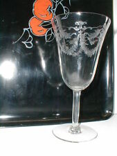 """UNK507 Clear Glass Floral Etch Swag Crystal 6-3/4"""" Water Goblet"""