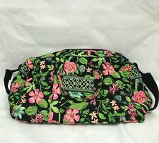 VERA BRADLEY Tote Shoulder Bag Botanica black green pink cotton L