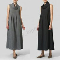 Women Sleeveless Turtleneck Long Shirt Dress Summer A-Line Tank Dress Plus Size
