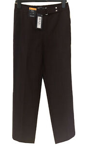 BNWT MARKS & SPENCER BURGUNDY STRAIGHT LEG CLASSIC TROUSERS - SIZE 10 SHORT