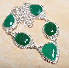 "Handmade Green Emerald Gemstone 925 Sterling Silver Necklace 19.5"" #N01200"