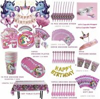 176 Pcs Unicorn Birthday Party Supplies Decoration Balloon Kit For Girls