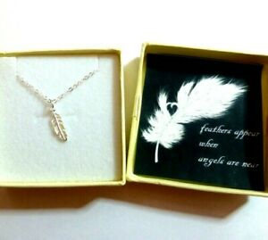 Remembrance Gift Feathers Appear When Angels are Near Necklace Silver Feather