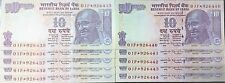 10 RUPEES STAR NOTES.U.N.C NOTES.SET OF 10 NOTES