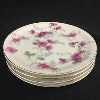 Set of 4 VTG Bread Plates by NS Nagoya Shokai Mountain Pink Ivory China Japan
