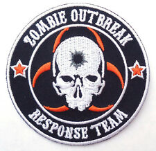 ZOMBIE HUNTER SKULL EMBROIDERED IRON ON 3 INCH PATCH