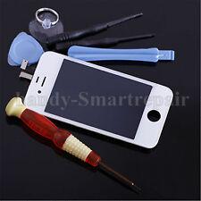 LCD Display für iPhone 4 4G Weiß Front Glas Touch Scheibe 5 Stern Werkzeug