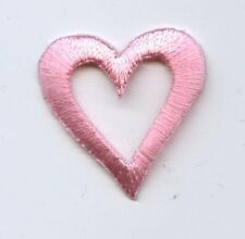"""Iron On Embroidered Applique Patch Light Baby Pink Open Heart 1"""""""