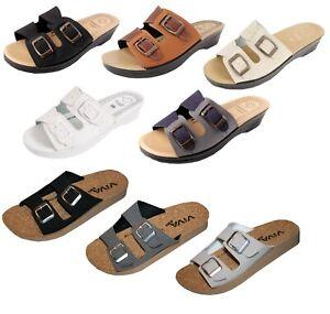 Damen Pantoletten Sandalen Freizeit 2 Schnallen Wörishofer Fußbett oder Kork