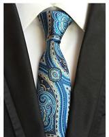Paisley Mens Tie Blue and Yellow Pattern Handmade 100% Silk Wedding Necktie