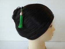 Japanese Kanzashi Hair Stick w/ Green Tassel Design Kumi Hair Ornament