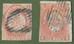 Early Newfoundland Imperf Stamps. 1857-1862. 1 Shilling Brown & 6d Brown.