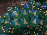 Gold Magic Potion Bottle on Sparkling Green Colored Six Sided 16mm D6 Die
