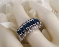 Vintage Jewelry Gold Ring with Blue and White Sapphires Antique Deco Jewelry