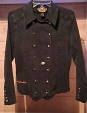 Women's  Black Jean Vintage Jacket by Harley Davidson Military Style Size Small