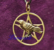 Anhänger ~ MUNIN ~ Odins Rabe - im Pentagramm - Bronze mit Lederband
