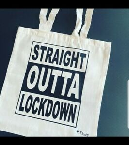 Themed Cotton Tote Bag / Shopping Bag - 'Straight Outta Lockdown'
