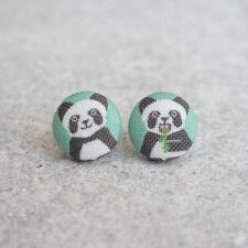 Pandas Fabric Button Earrings
