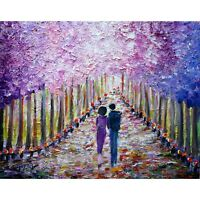SPRING Lilacs in Bloom Park ROMANCE Original Oil Painting Impasto Textured Art