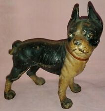 •Antique Cast Iron Boston Terrier Dog Door Stop• Hubley Manf Patina Farmhouse