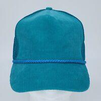 Vintage Otto Blank Plain Turquoise Blue Corduroy Trucker Hat Cap Strapback EUC